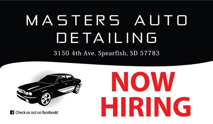 Master's Auto Detailing at Color Mystique is seeking a motivated and coachable Detail Specialist. Skills needed include:  - Able to do physically challenging work - Flexible to learning a new detail routine - Available 8 a.m. to 5 p.m. Monday-Friday - Maintains professionalism and reliability at all times  Interested parties MUST apply in person.  The Detail Specialist position is FULL TIME, and wage is based on experience. If interested or have questions, stop by Master's Auto Detailing at Color Mystique at 3150 4th Ave in Spearfish, and ask for Jenny!