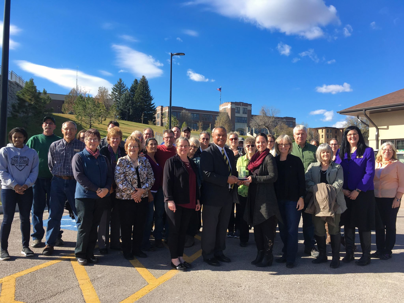 SPEARFISH, S.D. – Black Hills State University is being recognized for beautifying the community of Spearfish. They received the Business Beautification Award from the Spearfish Chamber of Commerce Tuesday for recent additions to the campus. The college has revamped walkways and green spaces on ca...