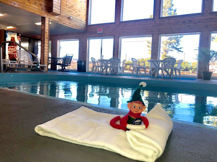 Marv needed a quick staycation during this busy time of year. He loves to hang out by the pool at the Spearfish Travelodge by Wyndham.  Relax in the Travelodge's heated pool and spa anytime. Locals can use the pool for only $3. But even better, just indulge a staycation. Book a room for only $39.99 Monday-Thursday! Lounge by the fireplace and enjoy a free continental breakfast. Mwah!  This great deal only lasts until early spring! Treat yourself!  #wheresmarv #marvisonthemove #staycation #local #spearfish #spearfishchamber #elfontheshelf #heatedpool #spa #fireplace