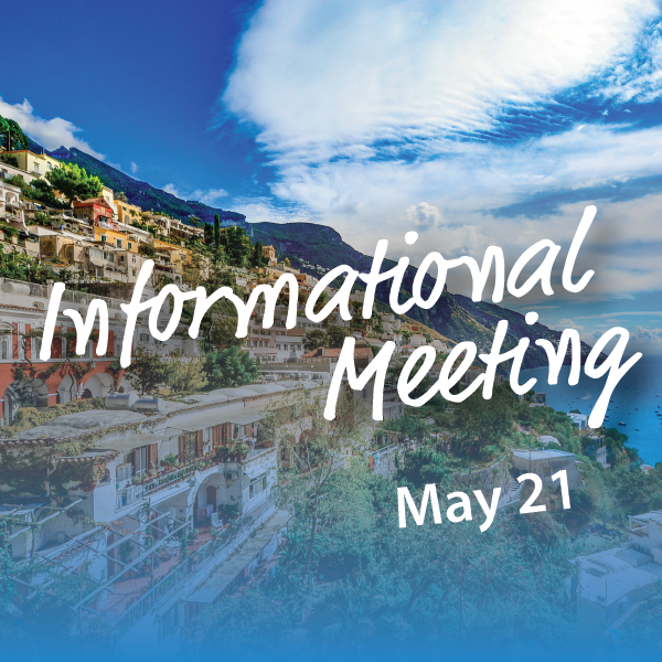 """One of the great joys of traveling through Italy is discovering firsthand that it is, indeed, a dream destination."" – Debra Levinson  Join us on our journey to Pompeii & the Amalfi Coast. We have an informational meeting open to the public with our Chamber Discoveries rep, Alan on Tuesday, May 21 at 5:30 p.m. at Studio 621.  We are excited to get started on this journey!"