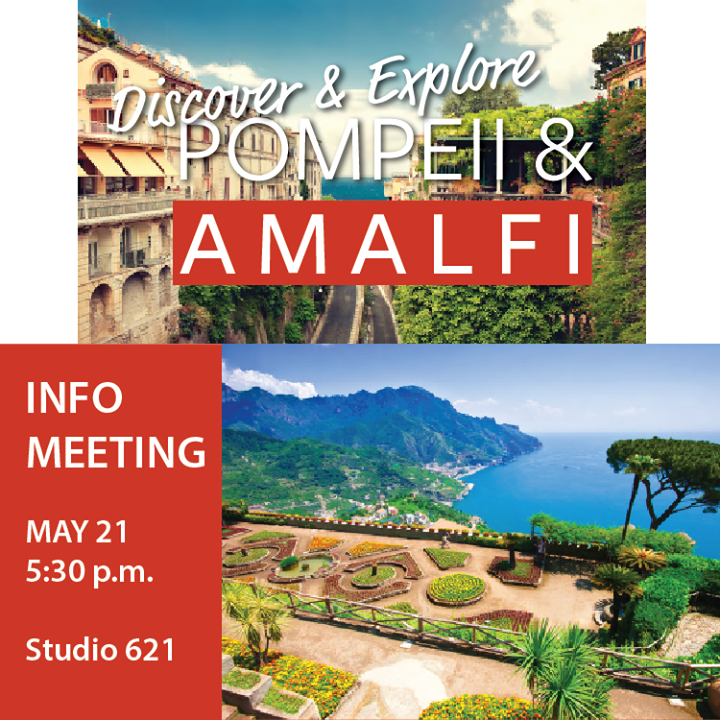 I can already smell the scent of lemons carried in the sea breeze...  Join us on Tuesday for an informational meeting about our trip to #Pompeii and #Amalfi.  Alan from Chamber Discoveries will be joining us at Studio 621 at 5:30 p.m.  See you soon! 🍋