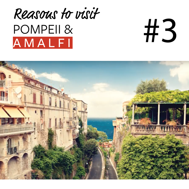 Reason #3 to Discover Pompeii & Amalfi: Early Bird Registration.  The Amalfi coast road offers one of the most exhilarating drives in the world; on one side the sea glistens past a steep drop, and on the other, towering cliffs dotted with pretty terraced villages and lush gardens hang overhead.