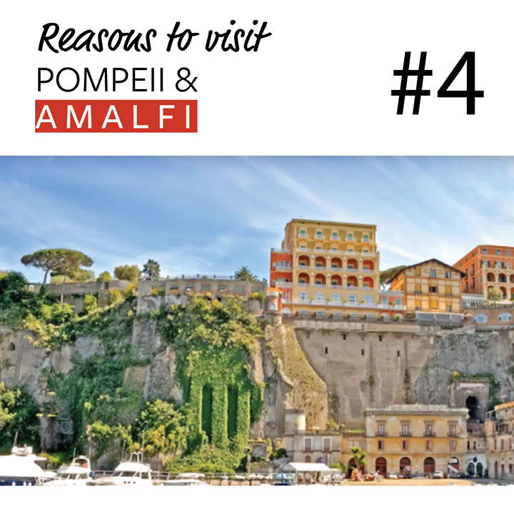 Reason #4 to come with us to Discover Pompeii & Amalfi: Early Bird Registration!  Positano, perched atop a steep rocky hill and its pretty narrow streets wind all the way down to the water, boasts gorgeous pastel villas clinging to the mountainside, exclusive boutiques, cosmopolitan restaurants and a mostly crowded but very cute pebble beach.