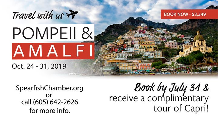 How to Sign Up for the Pompeii & Amalfi Trip  1) Book by June 15 and receive $200 off your trip. - $3,349 2) Click the link to the secure Chamber Discoveries trip page --> Discover Pompeii & Amalfi this October 3) Go through the sign-up process. 4) Put down your $450 deposit. 5) Sign up for additional trips (you can also wait until later on). 6) Presto! You're going to Italy.  Once you have signed up, you receive follow up emails regarding more information such as the deadline for additional trips, payment deadline, information on trip cancellation policy and insurance, tips and tricks to get ready, and much more.