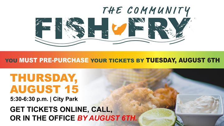 Our The Community Fish Fry is coming up soon! Make sure you get your tickets by AUGUST 6th.  We are excited to celebrate the summer with you all at our ol' fashion Fish Fry catered by Cheyenne Crossings Cafe.  Choose between either Fried Pike Perch or BBQ Chicken when you pre-purchase your tickets at Spearfish Area Chamber of Commerce, online, or call (605) 642-2626.