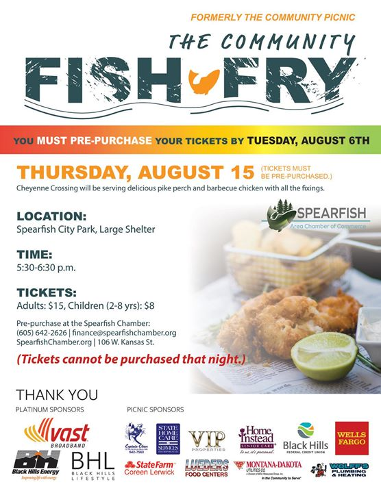 Introducing our The Community Fish Fry! Celebrate the summer with us at Spearfish City Park.  Get your tickets by‼️ August 6th ‼️ for fried fish or barbeque chicken catered by Cheyenne Crossings Cafe.