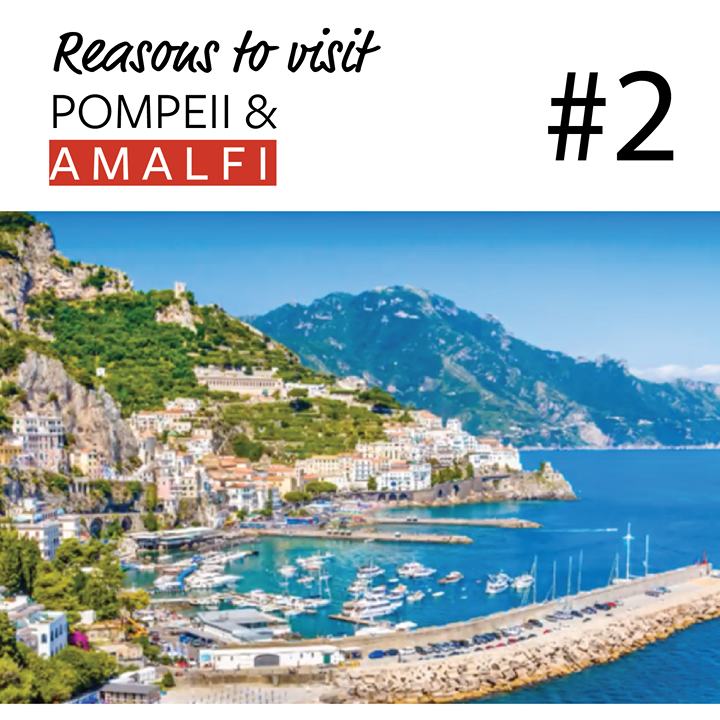 Reason # 2 to Discover Pompeii & Amalfi this October.  Sorrento, the gateway to the Amalfi Coast, enjoys a very privileged position straddling the cliffs that overlook the water to Naples and Mt Vesuvius.