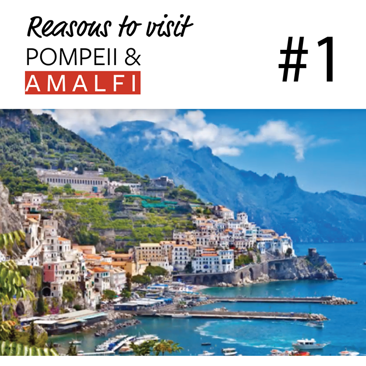 Reason #1 to Discover Pompeii & Amalfi this October.  #1 -The Amalfi coast easily has some of the most beautiful beaches in Italy. They are an eclectic mixture of intimate pebbly coves and long stretches of golden sand but all the beaches have the crystal blue sea and the enveloping towering cliffs in common.